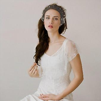 Pearls Bridal Comb Tulle Face Wedding Veil