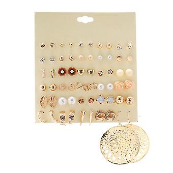 30 Pairs Earrings Set Hollow Wafer Geometric Flower Resin Metal Alloy Jewelry For Party