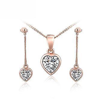 Rose Golden Heart Set Suit ötvözet cirkon medál lánc hosszabbító lánc fülbevaló a szertartás