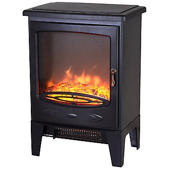 HOMCOM Tempered Glass Casing Electric Heater Freestanding Fireplace Artificial Flame Effect w/ Safety Thermostat 950w/1850W
