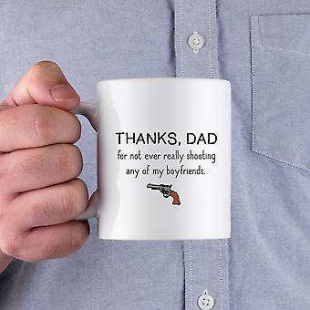 Tack pappa för inte någonsin riktigt skytte min pojkvänner roliga keramik mugg fars dag