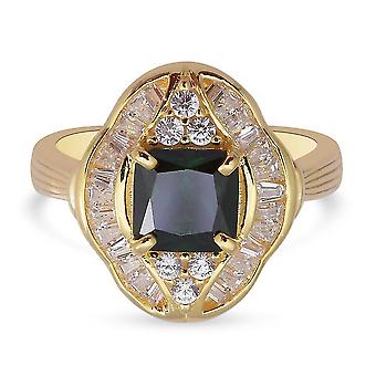 Elanza Green Cubic Zirconia Halo Ring Gold Plated Silver Anniversary Gift 3.96ct(T)