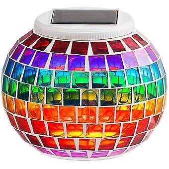 Solar Licht Mosaik Magische Tischlampe, Wasserdichte Farbe Wechselnde Globus Mosaik Laterne Glas Quadrat Mosaik Lampe für Garten Rasen Hof Terrasse (Regenbogen)