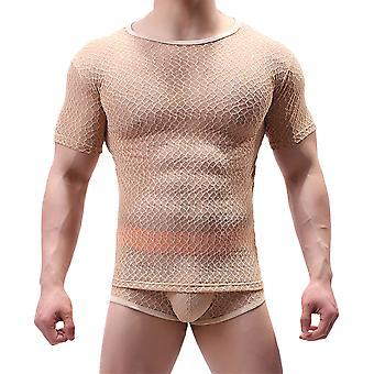 Muscle Comfy Mesh Fishnet Sheer Men T-shirt à manches courtes Top Underwear