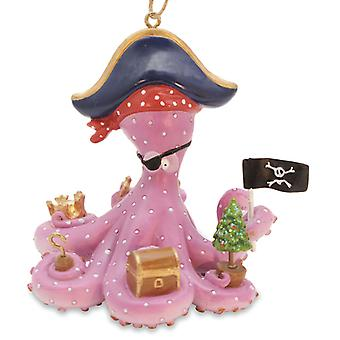 Cape Shore Big Pink Octopus Pirate Treasure Box Christmas Holiday Ornament Resin