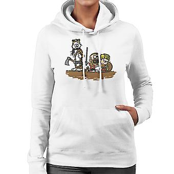 Calvin And Hobbes Vikings Ragnar Lothbrok Women's Hooded Sweatshirt