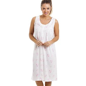 Camille Soft Cosy Knee Length Sleeveless Pink Floral Nightdress