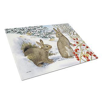 Carolines Treasures  ASA2181LCB Winter Rabbits Glass Cutting Board Large