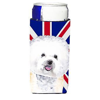 Bichon Frise mit englischen Union Jack britische Flagge Ultra Getränke Isolatoren für