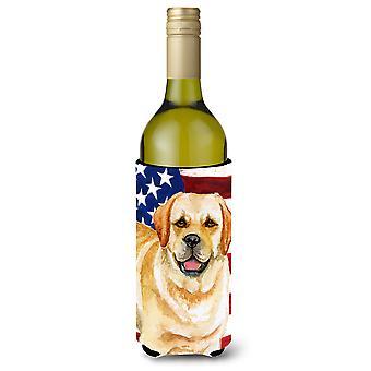 Golden Retriever Patriotic Wine Bottle Beverge Insulator Hugger
