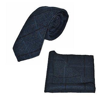 Luksusowy Aegean Blue jodełkę Sprawdź krawat & Pocket kwadratowych zestaw, Tweed