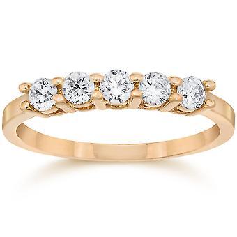 1/2ct Five Stone Diamond Ring 14K Rose Gold