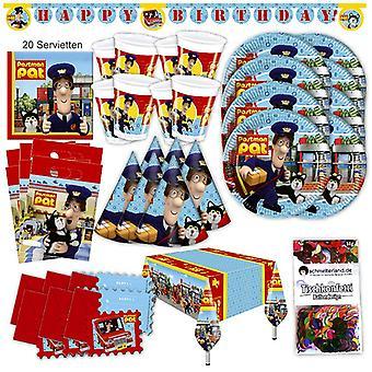 Festa de carteiro Pat conjunto XL 63-teilig para 6 hóspedes post pacote festa mensageiro para decoração de aniversário de festa
