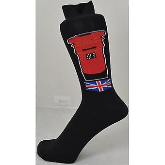 Union Jack Wear Red Post Box Men's Çorap Union Jack Motiff ile