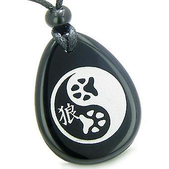Amulett Wolf Pfote Yin Yang magische Kanji geistiges Gleichgewicht Befugnisse Onyx Totem Stein Anhänger Halskette