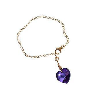 القلب سوار الكريستال البنفسجي الأزرق عنصر مالي قلب الذهب مطلي أساور