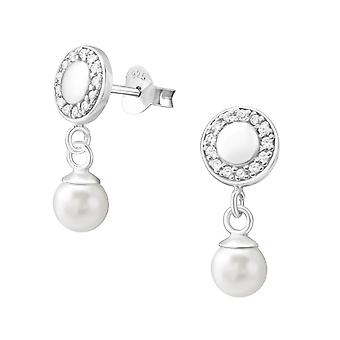 Round - 925 Sterling Silver Cubic Zirconia Ear Studs - W37798X