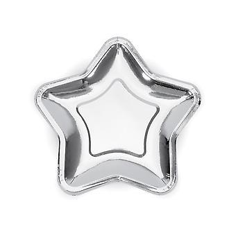 Zilveren ster papier partij platen x 6 kerst / verjaardag