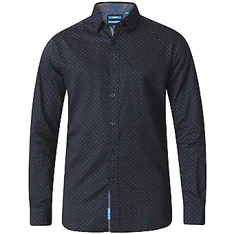 Duke D555 Mens Jahine King Size Big Tall Long Sleeve Button Up Shirt - Black