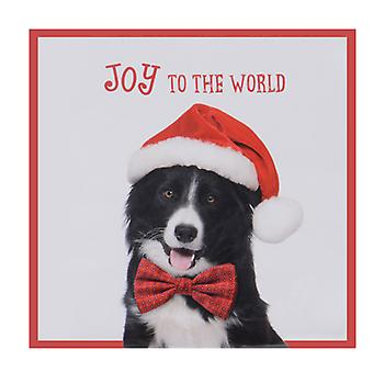 "TRIXES ""Joy to the World"" 20PC Pack Dog Napkins with Santa hat"
