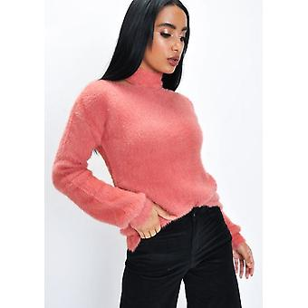 Moelleux découpe col tricot pull corail rose