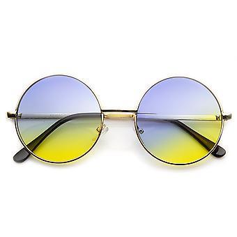منتصف المعدن الحجم ملون لينون نمط لون النظارات الشمسية جولة