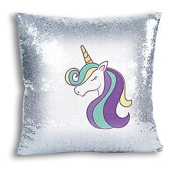 i-Tronixs - Unicorn Printed Design Silver Sequin Cushion / Pillow Cover for Home Decor - 16