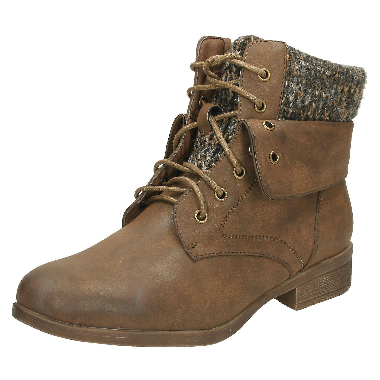Ladies Spot On Mid Heel Lace Up Ankle Boots F50613 Wg9KL
