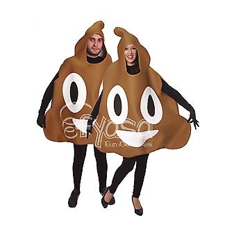 Emoticon crap costume pile of feces shit covering Brown jumpsuit