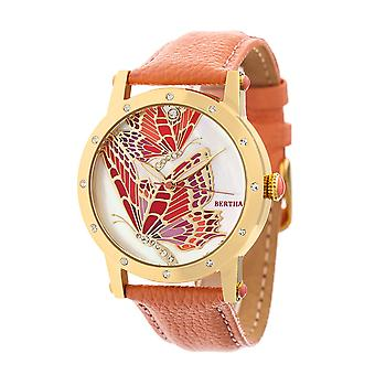 Bertha Isabella MOP Leather-Band Ladies Watch - Gold/Coral