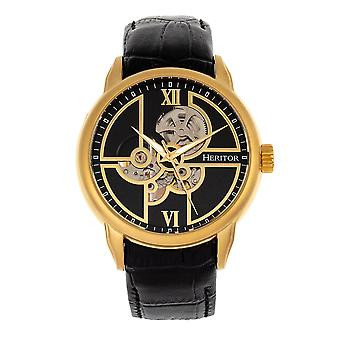 Heritor Automatic Sanford Semi-Skeleton Leather-Band Watch - Gold/Black