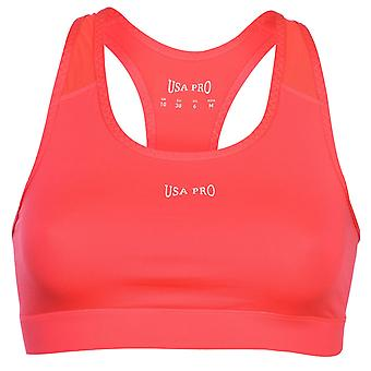 USA Pro Womens Poly Sports Bra Racer Gym Elastic Training Running Top