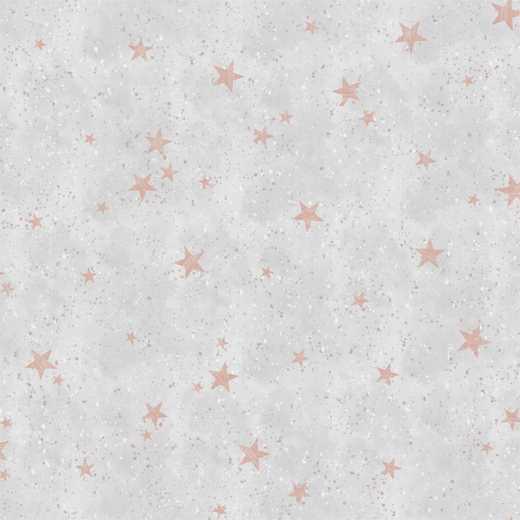 Starlight Stars Rose Gold Wallpaper Grey White Metallic Shimmer Childrens