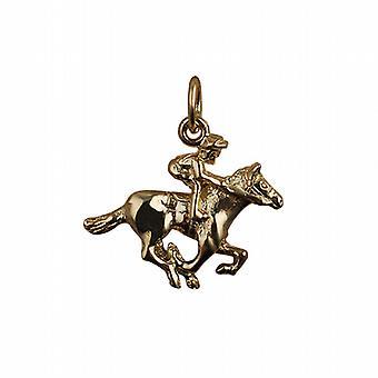 9ct goud 17x21mm galopperend paard en Jockey hanger of Charm