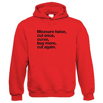 Measure Twice Cut Once Funny Hoodie | Tape Measure Pencil Ruler Spirit Level Shed Bench  | DIY Flatpack Hammer Saw Screwdriver Screws Nails  | Funny Gift Him Her Birthday