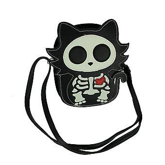Black Glow in the Dark Skeleton Cat Crossbody Purse Small