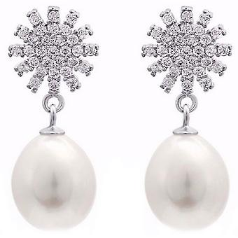 Pearls of the Orient Star Sparkle Freshwater Pearl Drop Earrings - White/Silver
