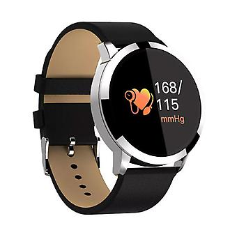 Stuff Certified® Original Q8 Smart Band Fitness Sports Activity Tracker Smartwatch Watch OLED Smartphone iOS iPhone Android Samsung Huawei Silver Leather