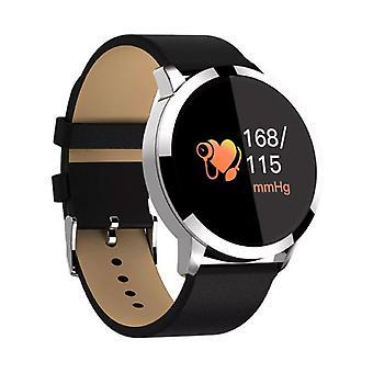 الاشياء المعتمدة® الأصلي Q8 الذكية فرقة اللياقة البدنية الرياضية تعقب النشاط Smartwatch مشاهدة OLED الهاتف الذكي iOS الروبوت سامسونج هواوي الفضة الجلود