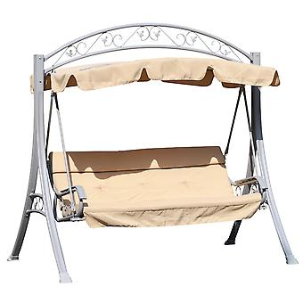 Outsunny Steel 3 Seater Swing Chair Patio Lounger Canopy Shelter Cushioned Seat Heavy Duty - Beige