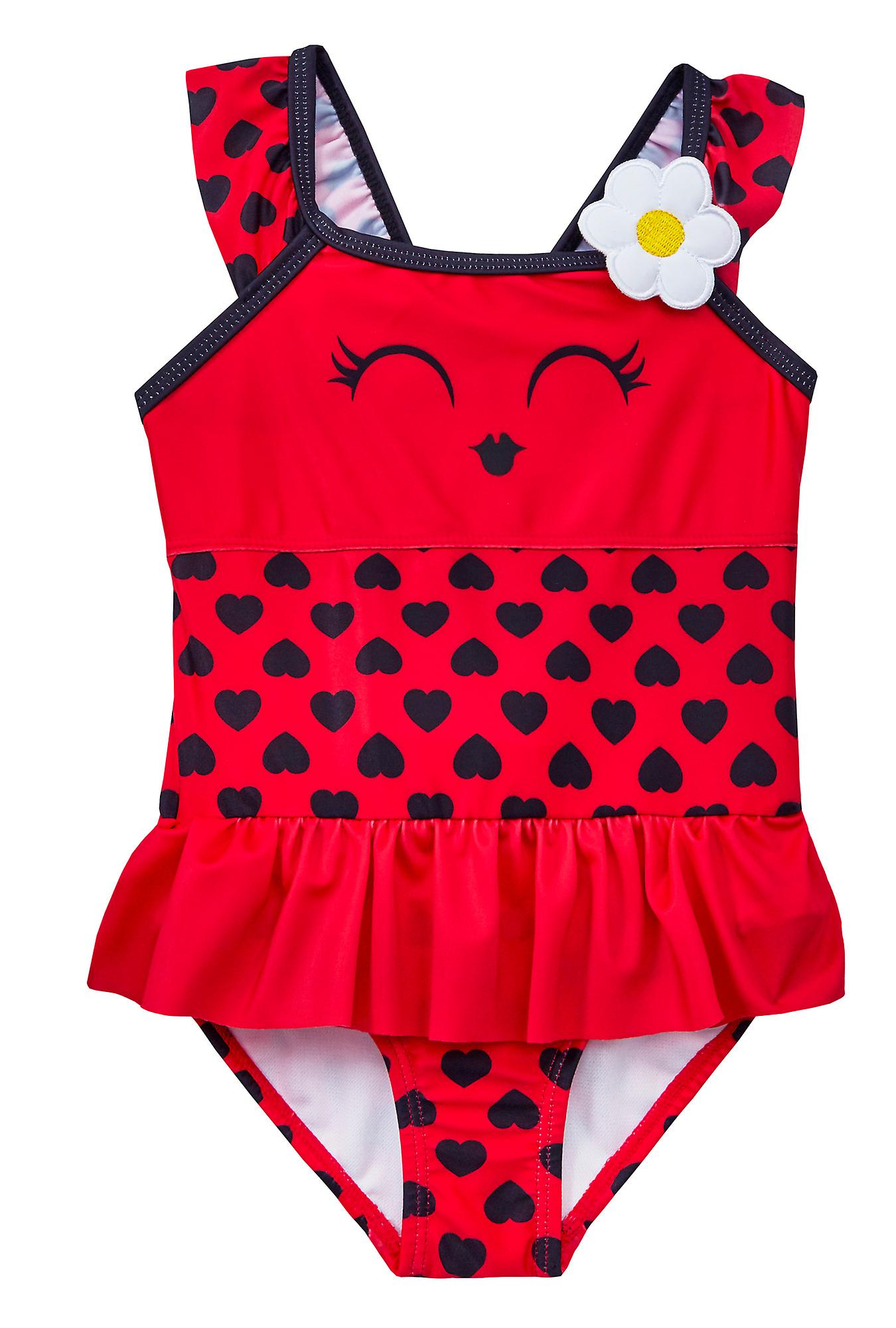 Girls red novelty ladybird swimming costume