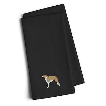 Borzoi Russian Greyhound Black Embroidered Kitchen Towel Set of 2