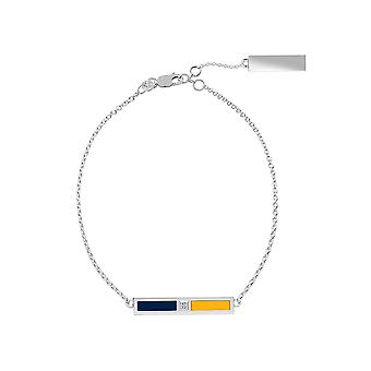 Nashville Predators Sterling Silver Diamond Chain Chain Bracelet In Blue and Yellow