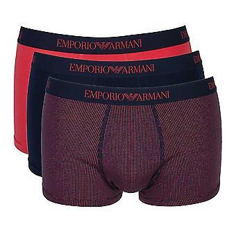 Emporio Armani Coloured Pure Cotton 3-Pack Trunk, Raspberry / Print / Marine, Small