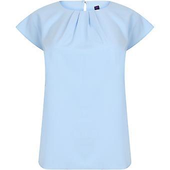 Henbury - Women's Ladies Pleat Front Short Sleeve Blouse