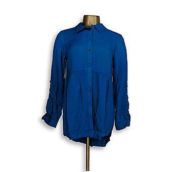 Joan Rivers Classics Collection mulheres ' s Top (XXS) botão azul A293988