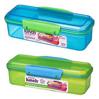 Sistema 410ml Snack Attack Box, Blue and Green Set of 2