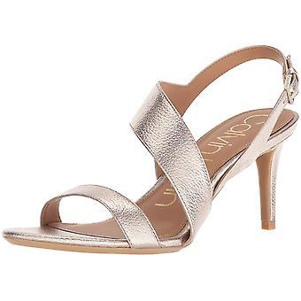 Calvin Klein mujer Lancy Nappa cuero abierto de punta abierta tobillo formal tira sandalias