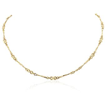 Jewelco London Ladies 9ct Yellow Gold 3mm Twist Bar Infinity Link Necklace 17