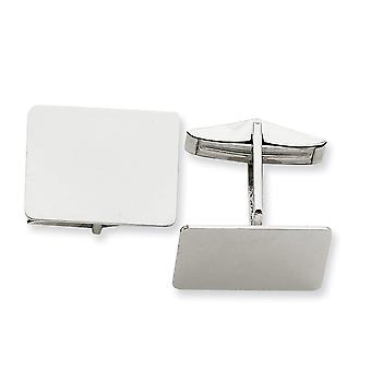 14k White Gold Solid Polished Engravable Rectangular Cuff Links Jewelry Gifts for Men - 7.4 Grams